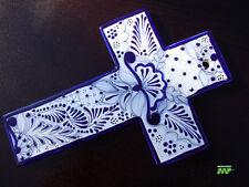 "Talavera Cross 9"" Fine Ceramic Mexico Art Original Hand Painted Signed Blue Wht."