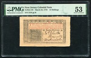 NJ-179 MARCH 25, 1776 12s TWELVE SHILLINGS NEW JERSEY COLONIAL NOTE PMG AU-53