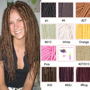 """20"""" Soft Thin Faux Locs Micro Dreads Synthetic Crochet Braiding Hair Extensions"""