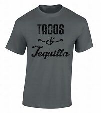 Tacos and Tequila T-SHIRT Black Mexico Spanish Shirt Drinking Eating Top