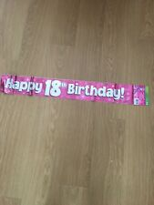 GIRLS 18TH BIRTHDAY BANNERS PARTY DECORATIONS PINK COLOUR 2.7M WILL SPLIT INTO 3