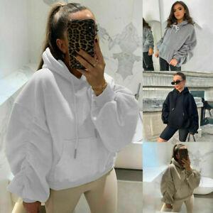 Women's Ruched Sleeve Baggy Oversized Hoodie Ladies Hooded Sweatshirt Jumper Top