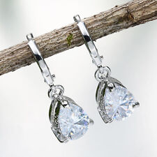Women Fashion 925 Silver White Sapphire Dangle Drop Earrings Wedding Jewelry New