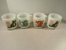 Nice Set of 4 Vtg White Glasbake Coffee Mugs Dragon, etc. with sayings.