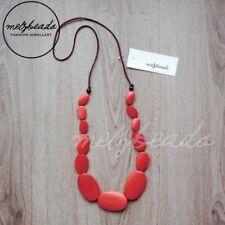 Wooden Bead Necklace Red Women Statement Necklace Eclectic Retro