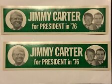 2 TWO Vintage 1976 Jimmy Carter For President Bumper Sticker, unused lot of 2