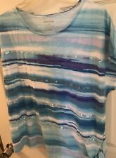 White Stag Women's sleeveless Sequin Striped Top, Side Tie sz L (12/14) bust 45