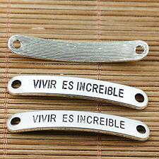 8pcs Tibetan silver vivir es increible beaded connectors EF1893