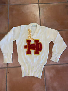 Vintage Imperial Official Award 60's Wool  Preppy Sweater Red Raiders SWAT 34