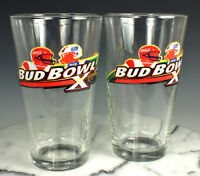 (2) Budweiser SUPER BOWL X Glasses NEW Old Stock 1976 STEELERS COWBOYS Rare