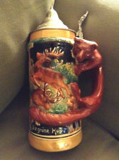 GERMAN HAND PAINTED BEER MUG--COPYRIGHT MR 722 GERMANY--7 AND 11 STAMPED BOTTOM