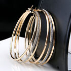 Fashion Silver Gold Plated Crystal Rhinestone Three Circles Hoop Dangle Earrings