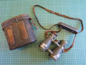VINTAGE WW1 GERMAN FERNGLAS 08 EMIL BUSCH BINOCULARS WITH LENS COVER & CASE