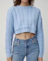 $420 Re/Done Cropped Wool And Cashmere Cable Knit Baby Blue Sweater Sz S NWT