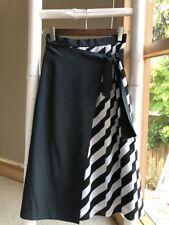 Gorgeous BLACK WHITE Striped Wrap Skirt Sz XS 6 EUC