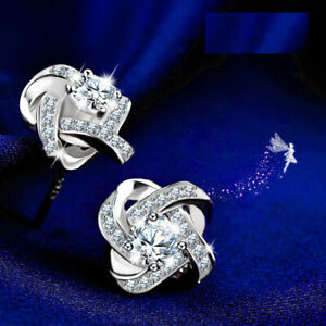 """""""Shimmering Knot """" UK Sterling Silver Earrings Made with Swarovski Elements"""