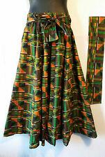 """AfricanKent Print Ankara Maxi Women Skirt 2 Pocket Belt Free Size Waist 46"""" P06"""