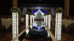 8pc. LED White Wedding Column Carved Flower Pillar Decoration Stand