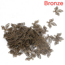 100x Leaves Filigree DIY Accessories Metal Crafts Connectors For Jewelry Making