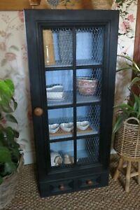 Solid pine kitchen cabinet, cupboard with chicken wire.