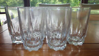 Arcoroc Artic Juice glasses clear glass faceted etched bottoms 6 9 oz glasses
