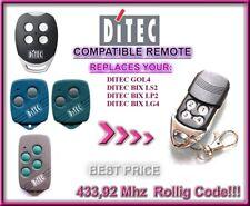 Ditec BIXLP2 / BIXLS2 / BIXLG4 compatible remote control / replacement 433,92Mhz