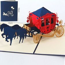 3D Pop Up Card Wedding Gharry Horse Greeting Gift Party New Hot Cards
