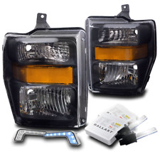 2008-2010 FORD F250 F350 SUPER DUTY BLACK HEADLIGHT LAMP W/BLUE LED DRL +6K HID