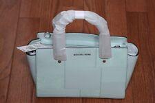 NWT Michael Kors $348 Selma Medium Tile Patch Leather Satchel Handbag Celedon