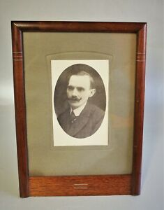 Art Deco Table Frame Photo Wood With Metall-Intarisen Um 1930 - Height: 11in