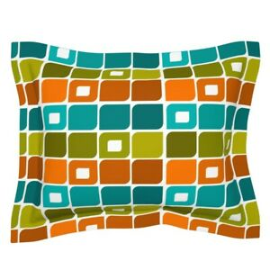 Mid Century Modern Retro Geometric Vintage Squares Pillow Sham by Roostery