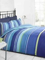 HORIZONTAL STRIPE BLUE TEAL GREEN DOUBLE COTTON BLEND DUVET COMFORTER COVER