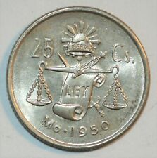 MEXICO SILVER 25 CENTAVOS vintage world D foreign Mexican 1950