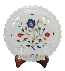 """9"""" White Marble Lattice Design Hand craved Stone Floral Inlay Home Decors P054"""