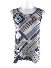 Everly Womens Size S Semi Sheer Blouse Sleeveless Geometric Style T8809