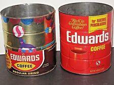 2 VINTAGE EDWARDS COFFEE CAN 48 OZ TIN REGULAR GRIND NO LID SAFEWAY RARE CIRCUS