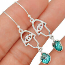 Hamsa Evil Eye - Neon Blue Apatite 925 Sterling Silver Earring Jewelry BE21825