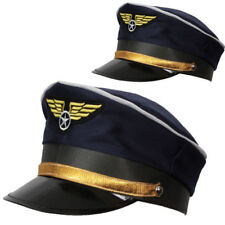 Blue Airline Pilot Hat Cap Peak Adult Captain Hen/Stag Fancy Dress Accessory