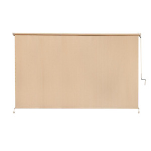 Exterior Roll Up Blind 120 in. W x 72 in. H Fade-Stain Resistant Cordless Beige