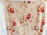 Antique French Fabric Floral Poppies Daisies Remnant Cotton Linen