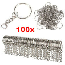 100Pcs Keyring Blanks 55mm Silver Tone Keychain Key Fob Split Rings Chain DIY