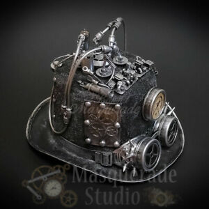 Steampunk Top Hat Mad Scientist Time Traveler Masquerade Mask Accessory [Silver]
