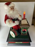 Holiday Creations Vintage Musical Santa Making His List With Light And Box