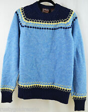 Womens Vintage Ski Sweater Brian MacNeil New Zealand Wool Blend Pullover Blue L