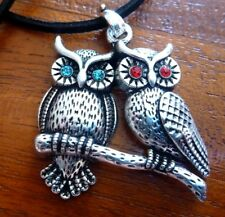 Tibetan Silver Plated Owl Bird Hoot Coloured Blue Red Stone Eyes Charm Necklace
