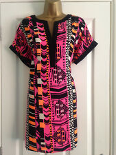 BNWT NEXT Black Pink Orange Print Short Sleeved Tunic Top Size 10 Petite