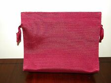 Vtg Clinique Make Up Bag Solid Dark Pink Magenta Fuchsia Cosmetic Case Zipper