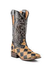 ROPER - Men's Sq Toe Ostrich Skin Patchwork Boots - ( 09-020-6502-0437 ) - 10D
