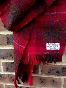 Harris Tweed Scarf Dark Red Brown Blue Burgundy Chocolate Wide Shawl Warm weave