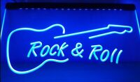 Rock & Roll LED Neon Bar Sign Home Light Up Drink Pub Guitar Own Name And Music